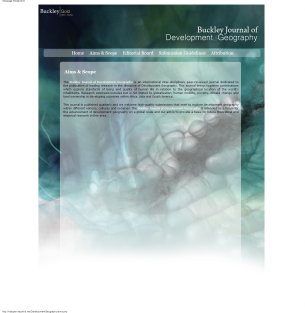 Buckley Journal of Development Geography Aims Scope