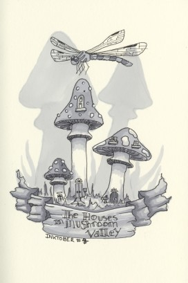 Inktober #4 The Houses in Mushroom Valley - Micron 02, Micron 005, Letraset Promarkers Ice Grey 1-5