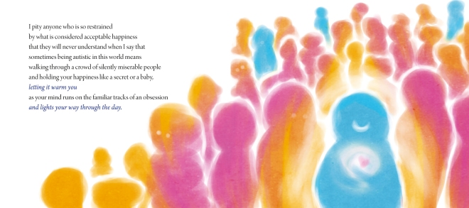 A spread from The Obsessive Joy of Autism by Julia Bascom, artwork by Elou Carroll (Jessica Kingsley Publishers, 2015)
